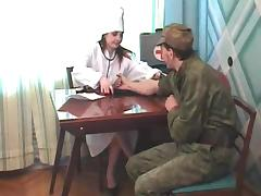 Field nurse gets fucked hard by a military guy in a first aid tent tube porn video