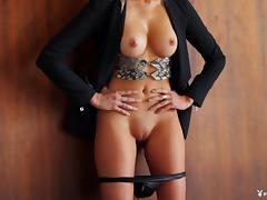 Stunning blonde centerfold has breathtaking big tits tube porn video