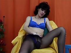 Slim granny with a very hairy pussy masturbating and dildoing herself tube porn video