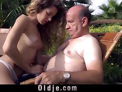 Beautiful Monique sucks grandpa's bulky old dong outdoor tube porn video
