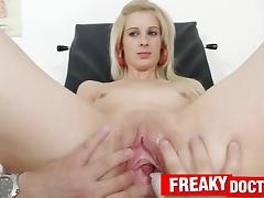 Czech blonde slut Mia Hilton and older dirty gynecologist tube porn video