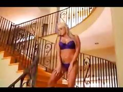Blonde with sexy lingerie gives her pussy tube porn video