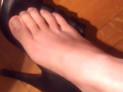 Nana takes her shoes and nylon socks off tube porn video