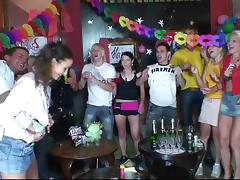 At a birthday party slutty chicks suck and fuck a male stripper tube porn video