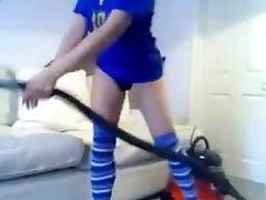Lustful black brown fucking vacuum cleaner tube porn video