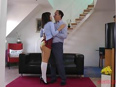 After class a dirty coed wears her school uniform while fucking tube porn video