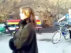 Fat naked brunette russian girl strips in public and gets cuffed by the police tube porn video