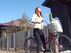 Cardigan cutie on a bike welcomes cock into her Japanese pussy tube porn video