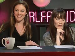 Shy Love is a smarty talking about the adult business on a chat show tube porn video