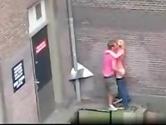 Dutch guy fucks a girl in public on the streets without a condom for everyone to see tube porn video