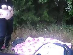 Chubby girl makes a sextape with her hippy bf in nature tube porn video