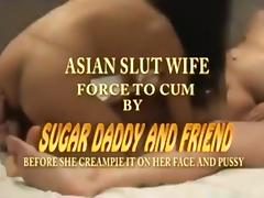Asian slut wife has a threesome with her husband and a friend tube porn video