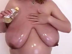My busty pregnant wife oils her body in homemade solo clip tube porn video