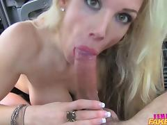 FemaleFakeTaxi Dirty driver gargles cop cum tube porn video