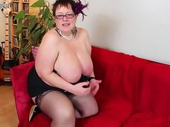 Huge breasted British mature BBW playing all by herself tube porn video