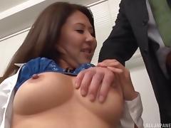 Slutty milf secretary sucks a dick and takes a hot cumshot tube porn video