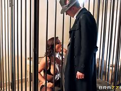 Classy MILF with big tits wears stockings while getting fucked tube porn video