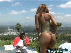 Black guy bangs white gal tube porn video