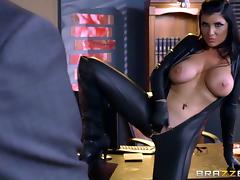 Stunning leather catsuit on a total babe that loves BBC tube porn video