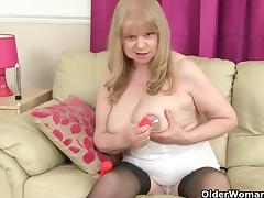 British grannies Pearl and Amanda going solo in stockings tube porn video