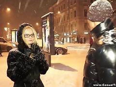 Czech cutie in glasses enjoys a huge black cock in her cunt tube porn video