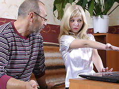 TrickyOldTeacher - Private tutor lesson turns blonde student to fuck and get cum facial tube porn video