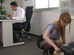 Tearing up her black pantyhose while fucking the secretary tube porn video