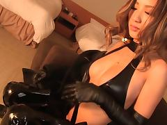 Leather gloves look amazing on this dick stroking Asian girl tube porn video