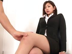Aggressive fucking of a Japanese beauty in pantyhose and a skirt tube porn video
