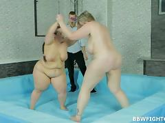 Fat wrestling babes build up a sweat and the winner gets fucked tube porn video
