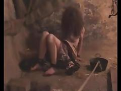 Chained dungeon slave girl eats with hands bound tube porn video