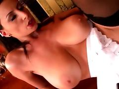 Lusty maid with massive melons gets rammed tube porn video