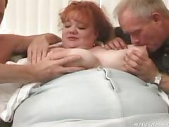 horny fat chick plays with two hard cocks @ phat farm tube porn video