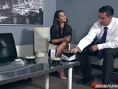 Skirt and blouse beauty Dana DeArmond fucked on a conference table tube porn video