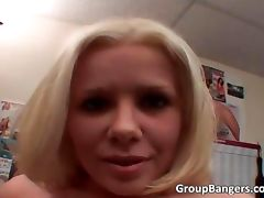 Blonde whorewith small tits gives tube porn video