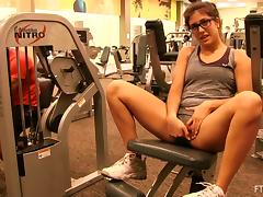 Sporty girl working out and showing us her tits tube porn video