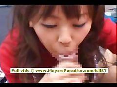 Japanese AV model gives a hot blowjob tube porn video