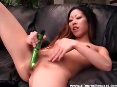 Petite Asian hottie uses her new green dildo tube porn video