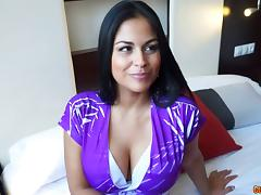 Thick Latin chick with big fake boobs gets fucked passionately tube porn video