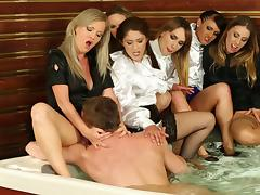 Clothed orgy in the hot tub with sluts sharing a big dick tube porn video
