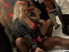 Lecherous babes give in to hardcore fucking at a club party in a reality shoot tube porn video