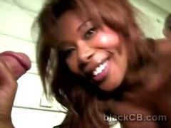 Booty ebony hottie bends for white dongs in interracial gang bang tube porn video