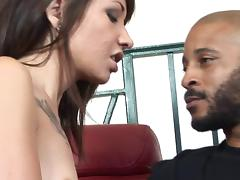 Skinny slut with a sexy tattooed chest fucks a big cock guy tube porn video