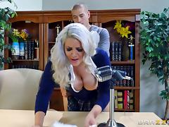 Nerdy blonde in a short skirt rides the hard schlong on the table tube porn video