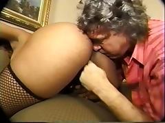 Old fart sniffs, licks black booty and masturbates tube porn video