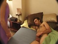 French Mom wakes up NOT her son with Blowjob tube porn video