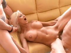 Hot Blonde Cougars Fucked by TWO COCKS tube porn video