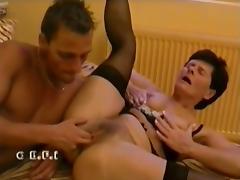 Oldy hairy granny Ibolya sex with boy tube porn video