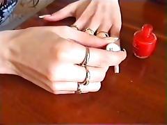 Long natural nails red polishing tube porn video