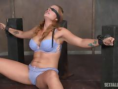Master mouth fucks the bound and blindfolded babe tube porn video